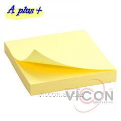 Стикер для заметок с липким слоем, 75 x 75 mm, 100 желтых литсиков, A Plus