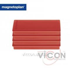 Набор из 4 шт. ферритовых прямоугольных магнитов Rechteck Magnetoplan, красного цвета.