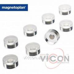 Набор из 8 шт. неодимовых круглых магнитов Magnetoplan Design в прозрачном акриловом корпусе. Ø 20 x 10 мм.