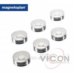 Набор из 6 шт. неодимовых круглых магнитов Magnetoplan Design в прозрачном акриловом корпусе. Ø 25 x 11 мм.