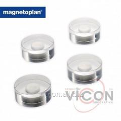 Набор из 4 шт. неодимовых круглых магнитов Magnetoplan Design в прозрачном акриловом корпусе. Ø 30 x 13 мм.