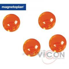 Набор из 4 шт. ферритовых шарообразных магнитов-бусин Ball в корпусе из прозрачного полистирола с тонировкой оранжевого цвета. Ø14 мм.