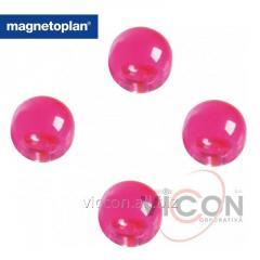 Набор из 4 шт. ферритовых шарообразных магнитов-бусин Ball в корпусе из прозрачного полистирола с тонировкой розового цвета. Ø14 мм.