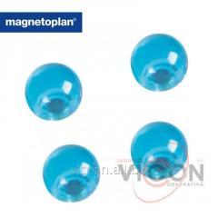 Набор из 4 шт. ферритовых шарообразных магнитов-бусин Ball в корпусе из прозрачного полистирола с тонировкой синего цвета. Ø14 мм.