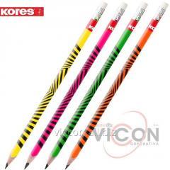 Карандаши графитовые KORES Grafitos Neon, HB, с