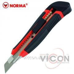 Нож канцелярский с фиксатором + 2 лезвия NORMA