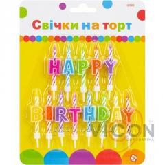 Набор Happy Birthday, 13 свечей на торт, 6 см; 13