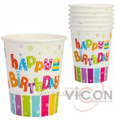 Набор из 6 стаканов бумажных Happy Birthday,...