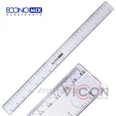 Линейка пластиковая прозрачная, 40 см, ECONOMIX