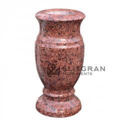 Vaza din granit rosu pentru cimitir L4
