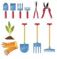Shovels, rake, secateurs, delimbers, nozhevka,