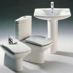 Wash basins, toilet bowls, bide, mixers, shower