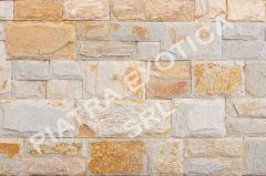 Камень натуральный облицовочный 5+10см скол цвет: Белый с желтым