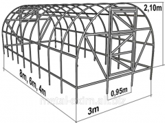 Greenhouses arch under polycarbonate