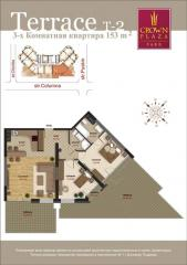 Luxury flats with terrace. Two-bedroom flat on the