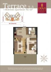 Luxury flats with terrace. One-bedroom flat on the