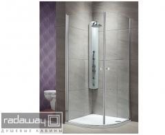 Semicircular shower cabins of RADAWAY Eos PDD