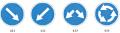 Indicator de sens obligatoriu «Direcţie obligatorie de ocolire a obstacolului» 4.2.1 - 4.2.3
