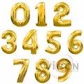 Фольгированные шары цифры, 42 см, золотого цвета