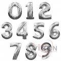 Фольгированные шары цифры, 100 см, серебряного цвета