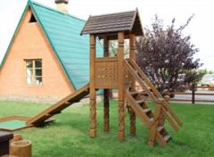Construction of wooden playgrounds in Moldova