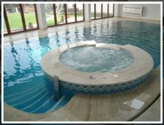 Services in the equipment of pools, saunas, baths