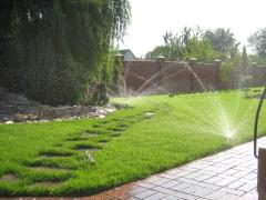 Watering of a lawn in Moldova