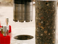 Diamond drilling of openings in concrete and steel