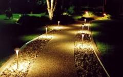 Decorative illumination of a garden, in Moldova