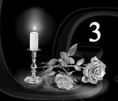 Гравировка розы, свечи, гвоздики вид 3