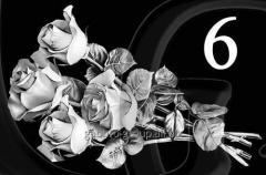 Гравировка розы, свечи, гвоздики вид 6